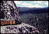 &quot;276-19 The &quot;Silverton&quot; inches around steep cliff. The Rio de las Animas is 1000-feet below.&quot;<br /> D&amp;RGW    Taken by Owen, Mac - 6/1975