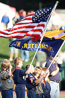 The boy scouts produce the American Flag for the National Anthem before a game between the Rochester Red Wings and Norfolk Tides at Frontier Field in Rochester, New York;  June 3, 2010.   Rochester defeated Norfolk by the score of 9-0.  Photo By Mike Janes/Four Seam Images