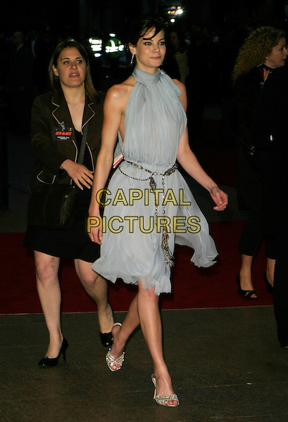 "MICHELLE MONAGHAN.""Mission Impossible 3"" Uk Film Premiere - Arrivals,.Odeon Leicester Square, London, England,.April 25th 2006..mission: impossible III full length grey blue belted dress belt.REf: AH.www.capitalpictures.com.sales@capitalpictures.com.©Adam Houghton/Capital Pictures."