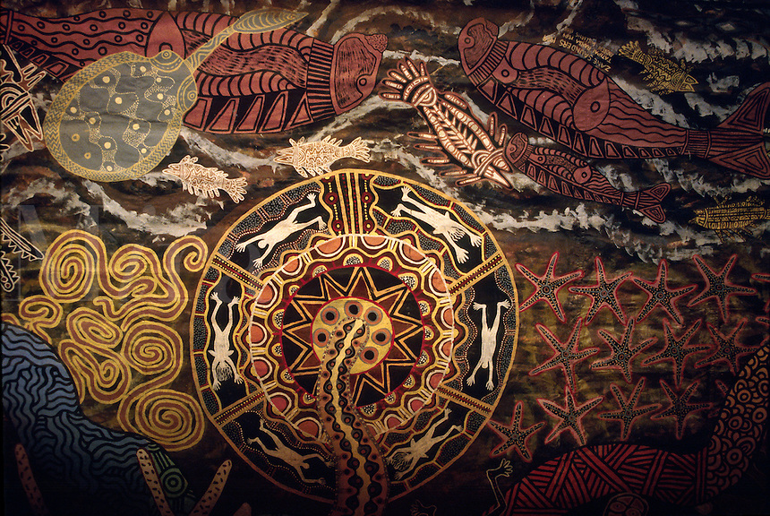 Aboriginal painting at Tjapukai Theatre Kuranda Australia