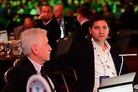 Philadelphia, PA - Thursday January 18, 2018: Tom Sermanni, Niki Budalic during the 2018 NWSL College Draft at the Pennsylvania Convention Center.
