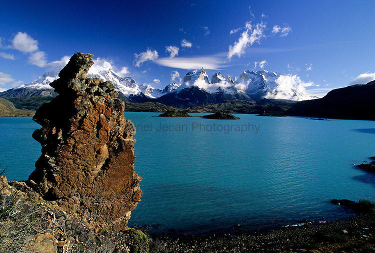 Paine massif sean across Lago Pehoe, Torres del Paine National Park