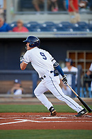 Charlotte Stone Crabs shortstop Tristan Gray (9) follows through on a swing during a game against the Palm Beach Cardinals on April 20, 2018 at Charlotte Sports Park in Port Charlotte, Florida.  Charlotte defeated Palm Beach 4-3.  (Mike Janes/Four Seam Images)