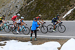 Nairo Quintana (COL) Movistar Team, Vincenzo Nibali (ITA) Bahrain-Merida, Domenico Pozzovivo (ITA) AG2R, Ilnur Zakarin (RUS) Team Katusha Alpecin and Steven Kruijswijk (NED) Team Lotto NL-Jumbo on the slopes of the Umbrail Pass the final climb during Stage 16 of the 100th edition of the Giro d'Italia 2017, running 222km from Rovetta to Bormio, Italy. 23rd May 2017.<br /> Picture: LaPresse/Fabio Ferrari | Cyclefile<br /> <br /> <br /> All photos usage must carry mandatory copyright credit (&copy; Cyclefile | LaPresse/Fabio Ferrari)