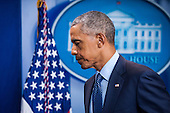 United States President Barack Obama leaves the Brady Press Briefing Room after speaking to reporters in Washington, District of Columbia, U.S., on Sunday, June 12, 2016, about the deadly shooting the night before in a gay nightclub in Orlando FL. Approximately 50 people were killed and at least 53 more were injured in what appears to be the deadliest mass shooting in U.S. history. <br /> Credit: Pete Marovich / Pool via CNP