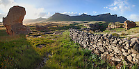 Lesotho Mountain scene with old stone wall of a Basotho cattle enclosure.