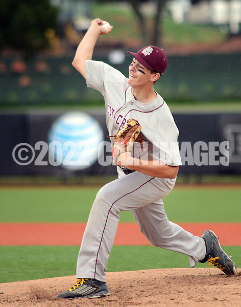 Holy Cross pitcher Jeff Undercuffler #13 throws a pitch against Gill St.  Bernard's in the first inning of the NJSIAA South Jersey Non-Public B championship baseball game Tuesday June 7, 2016 at Rutgers University in Piscataway, New Jersey. Holy Cross defeated Gill St. Bernard's 4-3. (Photo by William Thomas Cain)