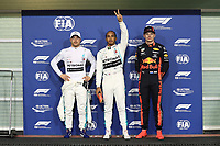 30th November 2019; Yas Marina Circuit, Abu Dhabi, United Arab Emirates; Formula 1 Abu Dhabi Grand Prix, qualifying day; Mercedes AMG Petronas Motorsport, Lewis Hamilton takes pole followed by team mate Valtteri Bottas and Aston Martin Red Bull Racing, Max Verstappen - Editorial Use