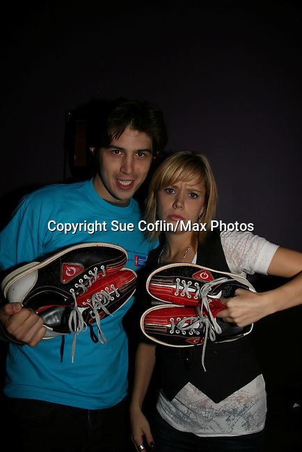 """As The World Turns' Marnie Schulenburg """"Alison"""" & Alex Cole """"Hunter"""" at the 2009 Daytime Stars and Strikes to benefit the American Cancer Society on October 11, 2009 at the Port Authority Leisure Lanes, New York City, New York. (Photo by Sue Coflin/Max Photos)"""