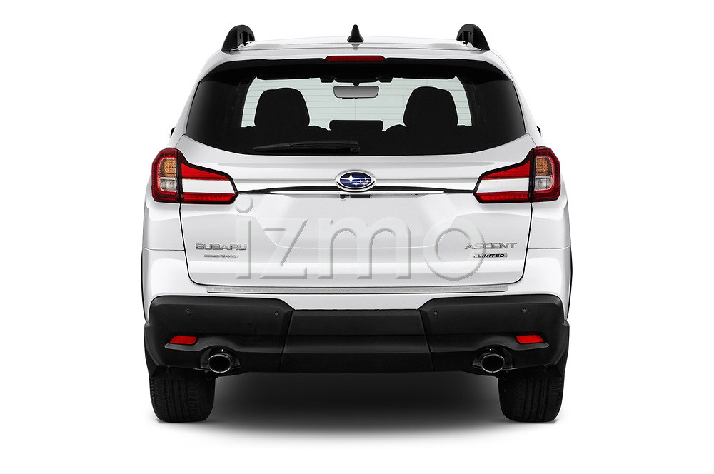 Straight rear view of a 2019 Subaru Ascent Limited 5 Door SUV stock images