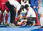 RAIPUR (India) -  Emmanuel Stockbroekx (Belg.) is injured . .  Hockey World League Final  men (Quarterfinals)  .  Argentina v Belgium (1-2)  .   © WSP / Koen Suyk