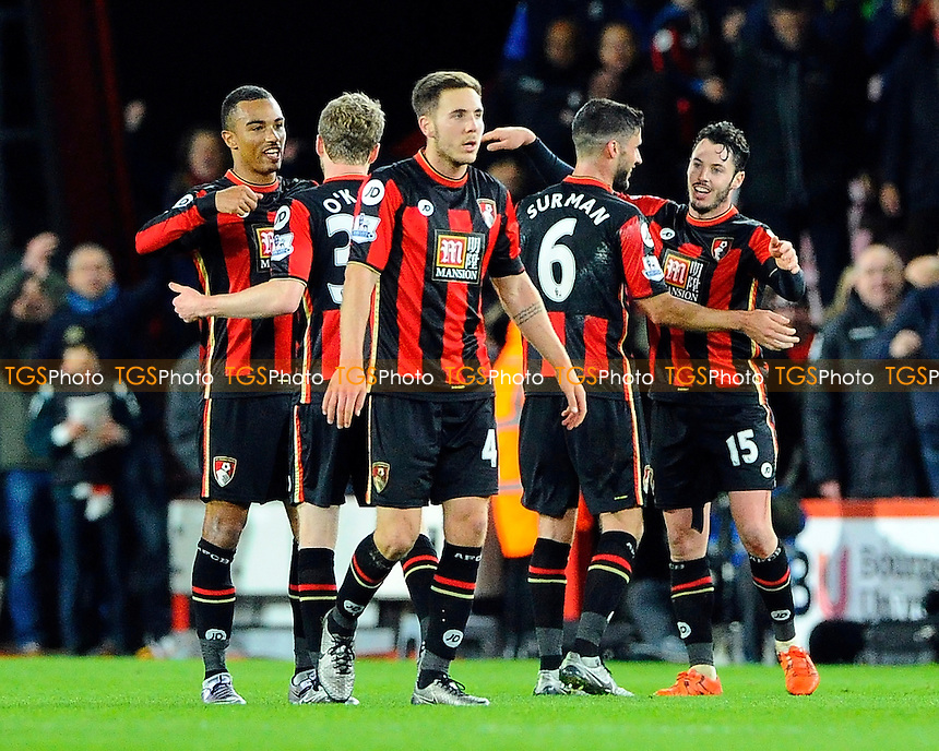 AFC Bournemouth players celebrate at full time during AFC Bournemouth vs Manchester United at the Vitality Stadium