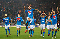 Lorenzo Insigne celebrates   at the end of the  italian serie a soccer match, AS Roma -  SSC Napoli       at  the Stadio Olimpico in Rome  Italy , October 14, 2017