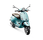 Blue 2017 motor scooter Vespa manufactured by Piaggio isolated on white background with clipping path Image © MaximImages, License at https://www.maximimages.com