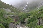 Waterfalls in the Alps, Lauterbrunnen, Switzerland.