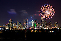 AUSTIN - JULY 4th - the downtown 4th of July fireworks displays on July 4, over downtown Austin, Texas