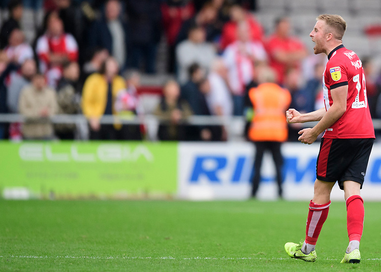 Lincoln City's Joe Morrell celebrates at the end of the game<br /> <br /> Photographer Chris Vaughan/CameraSport<br /> <br /> The EFL Sky Bet League One - Lincoln City v Sunderland - Saturday 5th October 2019 - Sincil Bank - Lincoln<br /> <br /> World Copyright © 2019 CameraSport. All rights reserved. 43 Linden Ave. Countesthorpe. Leicester. England. LE8 5PG - Tel: +44 (0) 116 277 4147 - admin@camerasport.com - www.camerasport.com