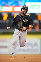 Akron RubberDucks catcher Eric Haase (13) running the bases during a game against the Binghamton Rumble Ponies on May 12, 2017 at NYSEG Stadium in Binghamton, New York.  Akron defeated Binghamton 5-1.  (Mike Janes/Four Seam Images)