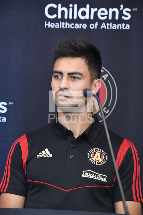 """Atlanta, Georgia - Friday, January 25, 2019. Atlanta United introduces newly-signed Gonzalo """"Pity"""" Martinez in a press conference at the team's Children's Healthcare Training Center."""