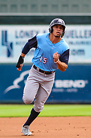 Colorado Springs Sky Sox outfielder Tyrone Taylor (15) races to third base during a Pacific Coast League game against the Iowa Cubs on June 23, 2018 at Principal Park in Des Moines, Iowa. Colorado Springs defeated Iowa 4-2. (Brad Krause/Four Seam Images)