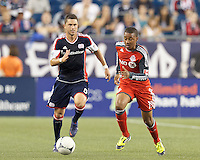 Toronto FC midfielder Reggie Lambe (19) brings the ball forward. In a Major League Soccer (MLS) match, Toronto FC defeated New England Revolution, 1-0, at Gillette Stadium on July 14, 2012.