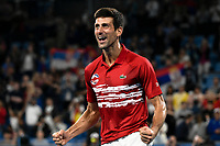 12th January 2020; Sydney Olympic Park Tennis Centre, Sydney, New South Wales, Australia; ATP Cup Australia, Sydney, Day 10; Serbia versus Spain; Novak Djokovic of Serbia reacts after Serbia win their doubles match against Team Spain to win the ATP Cup - Editorial Use