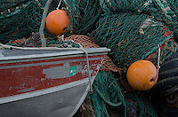Boat with Nets and Buoys, Kodiak Island, Alaska, US