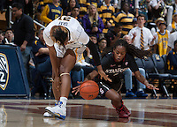 Reshanda Gray of California fights for a loose ball against Lili Thompson of Stanford during the game at Haas Pavilion in Berkeley, California on February 2nd 2014.   Stanford defeated California, 79-64.
