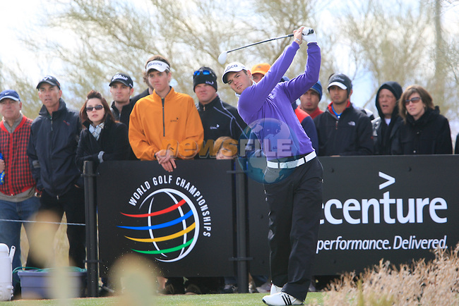 Martin Kaymer (GER) tees off on the 9th tee during the Finals Day 5 of the Accenture Match Play Championship from The Ritz-Carlton Golf Club, Dove Mountain, Sunday 27th February 2011. (Photo Eoin Clarke/golffile.ie)
