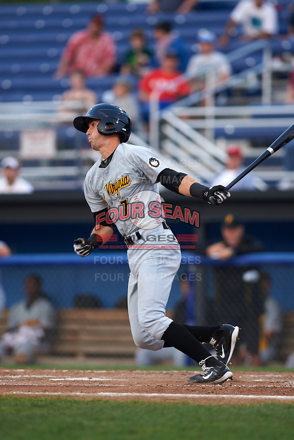 West Virginia Black Bears shortstop Erik Forgione (7) at bat during a game against the Batavia Muckdogs on August 31, 2015 at Dwyer Stadium in Batavia, New York.  Batavia defeated West Virginia 5-4.  (Mike Janes/Four Seam Images)