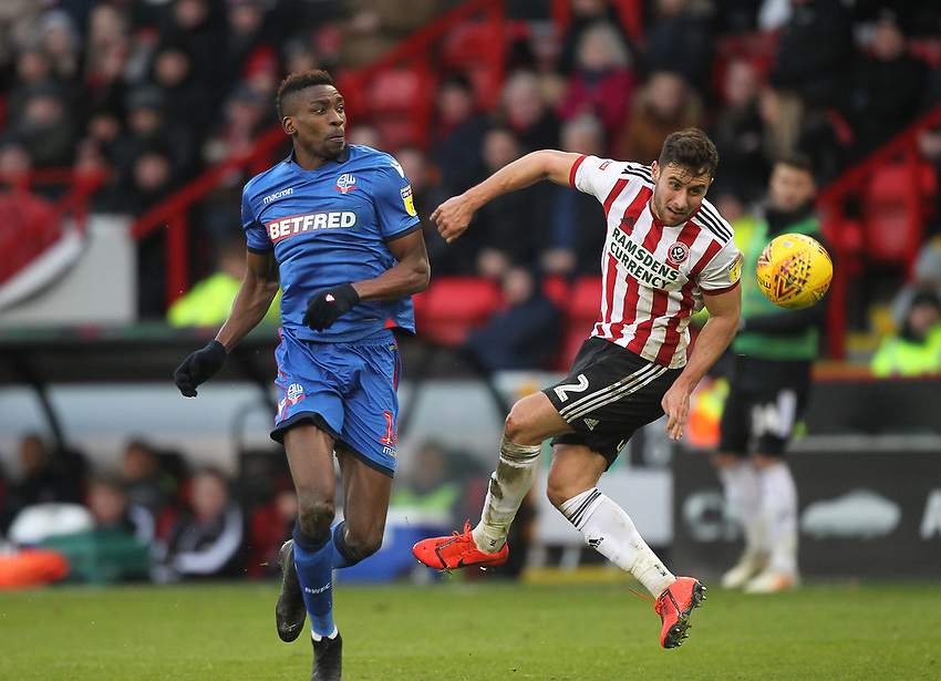 Bolton Wanderers Sammy Ameobi in action with Sheffield United's George Baldock<br /> <br /> Photographer Mick Walker/CameraSport<br /> <br /> The EFL Sky Bet Championship - Sheffield United v Bolton Wanderers - Saturday 2nd February 2019 - Bramall Lane - Sheffield<br /> <br /> World Copyright © 2019 CameraSport. All rights reserved. 43 Linden Ave. Countesthorpe. Leicester. England. LE8 5PG - Tel: +44 (0) 116 277 4147 - admin@camerasport.com - www.camerasport.com