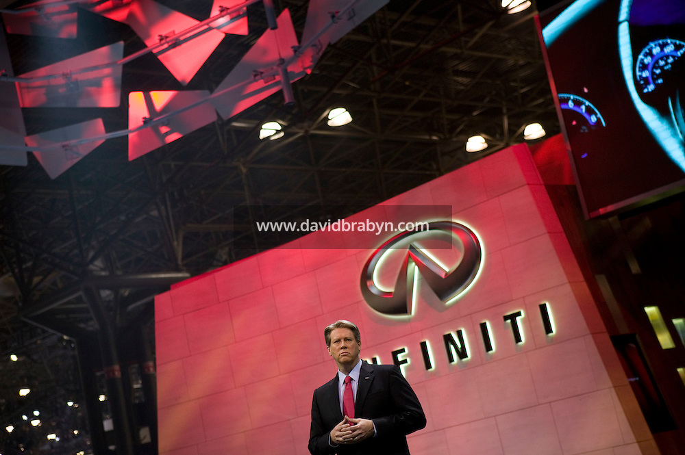 4 April 2007 - New York City, NY - Mark Igo, Vice President and General Manager, Nissan Infiniti, presents new cars on day one of the press preview at the New York International Auto Show in New York City, USA, 4 April 2007.