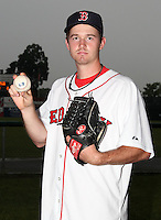 Lowell Spinners pitcher Tyler Lockwood (35) poses for a photo in a Boston Red Sox uniform during a rain delay at Falcon Park in Auburn, New York August 9, 2010.  Lockwood was selected in the 2010 MLB Draft by the Red Sox in the 25th round (773rd overall) out of Texas Christian.  The game between the Lowell Spinners and Auburn Doubledays was cancelled due to rain.  Photo By Mike Janes/Four Seam Images