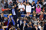 07 APR 2014: Coach Kevin Ollie of the University of Connecticut cuts down the net after their win over University of Kentucky in the closing moments during the 2014 NCAA Men's DI Basketball Final Four Championship at AT&T Stadium in Arlington, TX.  Connecticut defeated Kentucky 60-54 to win the national title. Brett Wilhelm/NCAA Photos