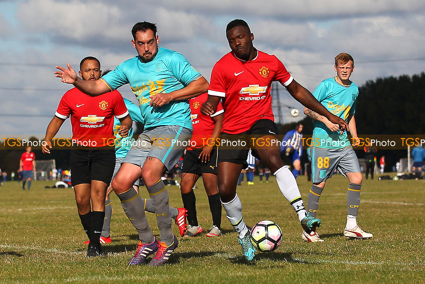 Hacimac (red/black) vs CP Two, Hackney & Leyton Sunday League Football at Hackney Marshes on 9th October 2016