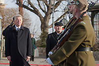 Pal Schmitt (L) president of Hungary and Csaba Hende (R) Defense Minister inspect the guard of honor as the  Palace Guards take over the formal guard in front of the Sandor's Palace used as the office of the President of Hungary in Budapest, Hungary on January 07, 2012. ATTILA VOLGYI