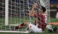 Calcio, Serie A: Roma vs Lazio. Roma, Stadio Olimpico, 8 aprile 2013..AS Roma forward Erik Lamela, of Argentina, reacts after missing a scoring chance during the Italian serie A football match between A.S. Roma  and Lazio at Rome's Olympic stadium, 8 april 2013..UPDATE IMAGES PRESS/Isabella Bonotto