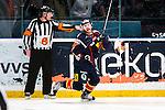 Stockholm 2014-03-27 Ishockey Kvalserien Djurg&aring;rdens IF - R&ouml;gle BK :  <br /> Djurg&aring;rdens Dustin Johner har gjort 3-2 och jublar <br /> (Foto: Kenta J&ouml;nsson) Nyckelord:  DIF Djurg&aring;rden R&ouml;gle RBK Hovet jubel gl&auml;dje lycka glad happy
