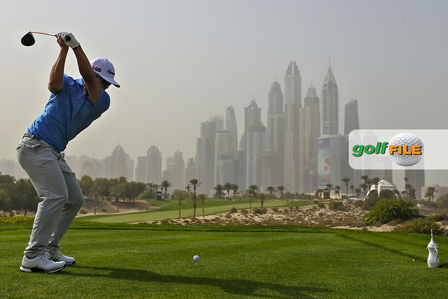Kurt Kitayama (USA) on the 8th tee during Round 1 of the Omega Dubai Desert Classic, Emirates Golf Club, Dubai,  United Arab Emirates. 24/01/2019<br /> Picture: Golffile | Thos Caffrey<br /> <br /> <br /> All photo usage must carry mandatory copyright credit (© Golffile | Thos Caffrey)