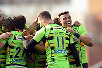 Luther Burrell of Northampton Saints celebrates at the final whistle. Aviva Premiership match, between Leicester Tigers and Northampton Saints on April 14, 2018 at Welford Road in Leicester, England. Photo by: Patrick Khachfe / JMP