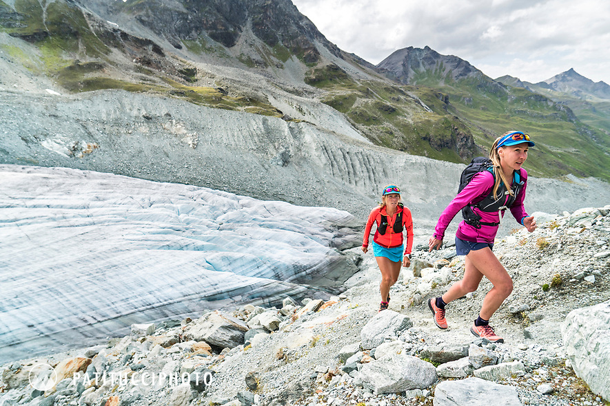 Trail running above the Glacier de Moiry and its terminus, Switzerland