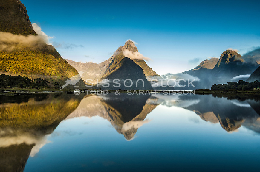 Mirror reflection of Mitre Peak in Milford Sound, Fiordland National Park, South Island, New Zealand - stock photo, canvas, fine art print