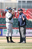 April 15th 2008:  Manager Brad Komminsk (49) of the Bowie Baysox, Class-AA affiliate of the Baltimore Orioles, argues a reversed home run call with third base umpire Mark Lollo during a game at Jerry Uht Park in Erie, PA.  Photo by:  Mike Janes/Four Seam Images