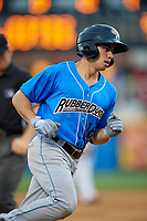 Akron RubberDucks right fielder Jodd Carter (16) rounds the bases after hitting a home run in the top of the sixth inning during a game against the Harrisburg Senators on August 18, 2018 at FNB Field in Harrisburg, Pennsylvania.  Akron defeated Harrisburg 5-1.  (Mike Janes/Four Seam Images)