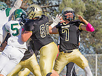 Palos Verdes, CA 10/07/16 - Zackary Denney (Peninsula #60) and Aidan Kuykendall (Peninsula #7) in action during the CIF Bay League game between Mira Costa and Peninsula.