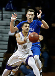 SIOUX FALLS, SD - MARCH 8:  xxxxxxxxxxxxxxxxxx #11 from the College of Idaho passes to a teammate while xxxxxxxxx #?? from Mayville State defends at the 2018 NAIA DII Men's Basketball Championship at the Sanford Pentagon in Sioux Falls. (Photo by Dick Carlson/Inertia)