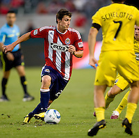 Chivas USA midfielder Ben Zemanski (21) moves with the ball. CD Chivas USA defeated the Columbus Crew 3-1 at Home Depot Center stadium in Carson, California on Saturday July 31, 2010.