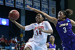21 March 2015: Ohio State's Ameryst Alston (14) is fouled by James Madison's Toia Giggetts (3). The Ohio State University Buckeyes played the James Madison University Dukes at Carmichael Arena in Chapel Hill, North Carolina in a 2014-15 NCAA Division I Women's Basketball Tournament first round game.