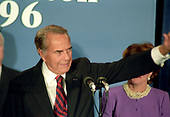 Former United States Senator Bob Dole (Republican of Kansas), the 1996 Republican Party candidate for President of the United States, waves to the crowd as he makes his concession speech to supporters at an Election Night Party sponsored by the Republican National Committee at the Renaissance Hotel in Washington, DC on Tuesday, November 5, 1996.  <br /> Credit: Ron Sachs / CNP