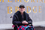NEW HAVEN, CT. 06 December 2018-120618 - 97 year old Floyd Welch, of East Lyme,  the state's last remaining survivor of the attack on Pearl Harbor, sits in front of the new park sign during the dedication ceremonies of the Pearl Harbor Memorial Park located below the Pearl Harbor Memorial Bridge in New Haven on Thursday. Bill Shettle Republican-American